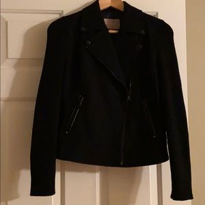 Wool mix moto style jacket with knot sleeves